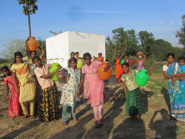 Borewel and tank for 1000 villagers in Andra Pradesh