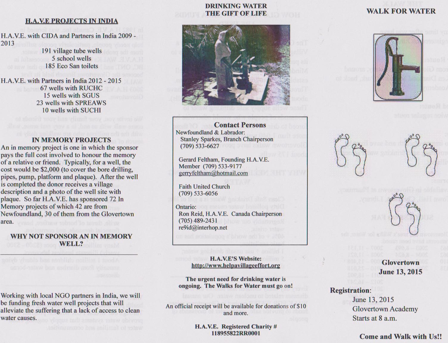 Glovertown, Nfld. Walk for Water June 13