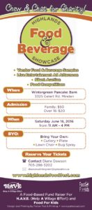 Support HAVE at the Food and Beverage Showcase in Gelert June 18